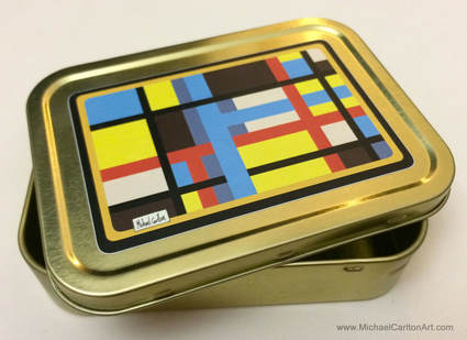 2oz Tobacco Tin featuring Colourful Design by Michael Carlton (Gold)