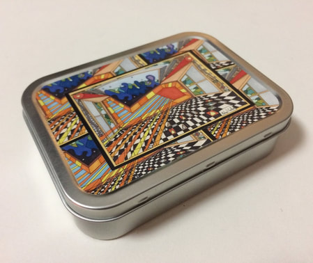 2oz Tobacco Tin featuring Colourful Design by Michael Carlton (Silver)